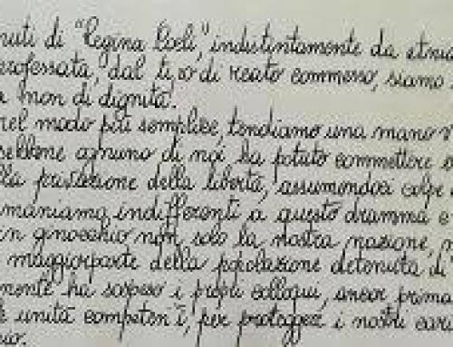 La toccante lettera dei detenuti di Regina Coeli